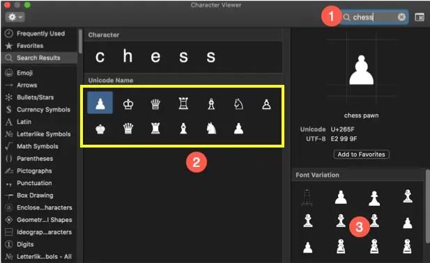 chess symbol on macbook